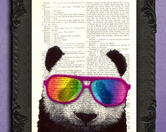 Panda art rainbow glasses home decor geekery art hipster decor wall art panda print wall decor panda poster