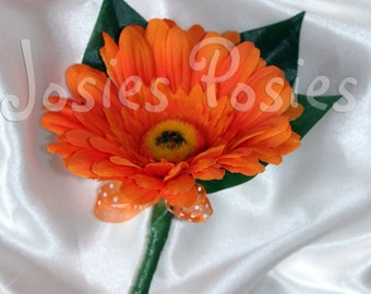 FLORENCE buttonhole - hot orange gerbera daisy