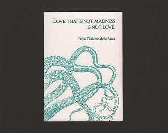 Love is Madness Lovecraft Letterpress Card (4bar/small)