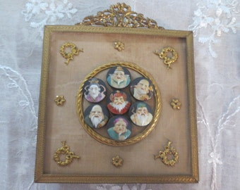 Seven Gods of Fortune Buttons in French Frame