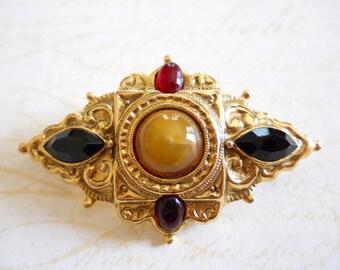 Vintage Brooch - Faux Black Onyx and Tiger Eye