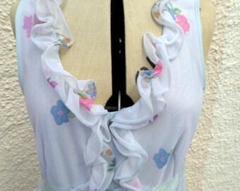 1970s Maxi Hippie Festival Boho Ditsy Dress Size 10 - 12