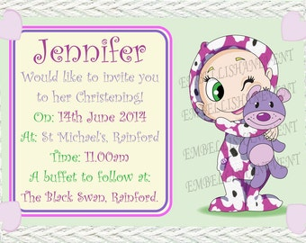 Baby shower invitations, Christening Invite for boy or girl,Baby in Onesie, choose style