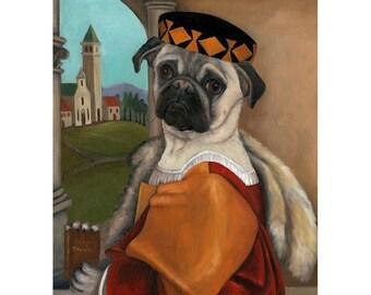 Pug Art Dog Portrait, Rocco the Pug 5x7 Print, Animals Dressed Dog Decor