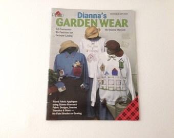 Applique Pattern, Diannas Garden Wear, Fused Applique, Transfer Sewing, Lady Bug Applique, Pattern book, Garden Applique, Iron On Transfer