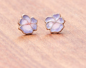 Pansy Enamel Earrings, Orchid and Pink