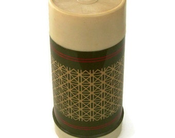 Retro Vintage, Murphey's Thermos Bottle, Olive Green Tan and Red, Geometric