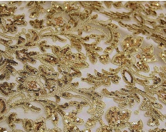 gold lace fabric, gold sequined lace, gold embroidered lace fabric, sequined fabric lace