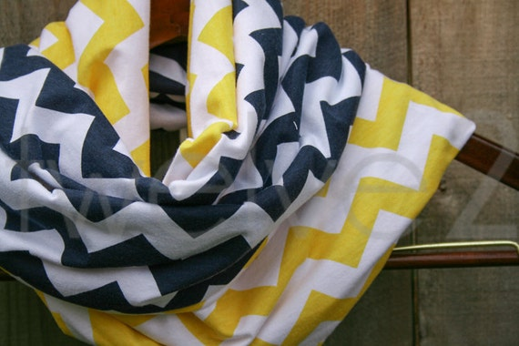Infinity Scarf Navy Blue Yellow Chevron Jersey Knit