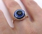Bezel Ring - blue evil eye, silver plated