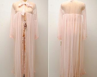 Vintage Sheer Long Bed Jacket- Small, NWT, Womens Robe