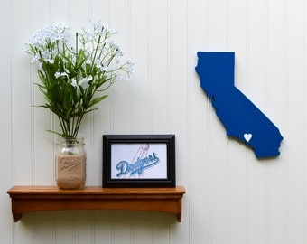 """Los Angeles Dodgers """"State Heart"""" wall art, handcrafted wood with official team colors"""