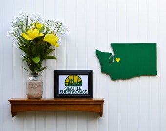 "Throwback Seattle Sonics ""State Heart"" wall art, handcrafted wood with official team colors"
