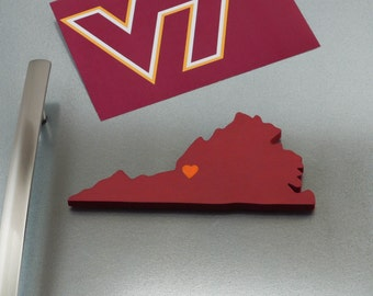"""Virginia Tech Hokies """"State Heart"""" Magnet, handcrafted wood with official team colors"""