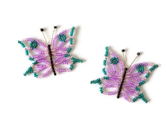 seed bead butterfly ornament, seed bead butterflies, decorative ornament for easterbush set of 2 colorful butterflies
