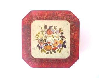Vintage Flower Tin Can, Metal Cookies Box, Dark Red, Flowers