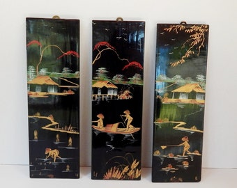 Exceptionnel Vintage Oriental Black Lacquer Panels, Painted Panels, Set Of Three