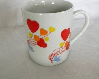 vintage heart balloon and dove mug