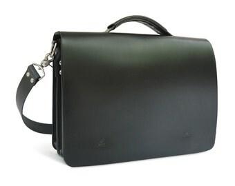 """15.25"""" Handmade Messenger Bag, Full-Grain Leather, Black"""