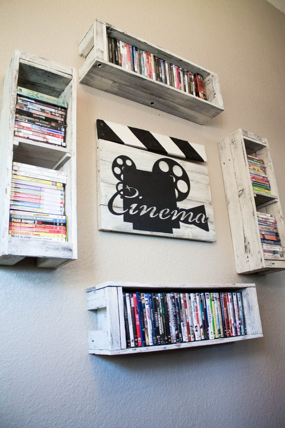 items similar to cinema clapperboard decor from reclaimed wood with four dvd storage shelves on etsy. Black Bedroom Furniture Sets. Home Design Ideas