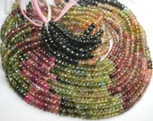 14 Inch-Super-FINEST-  Multi Tourmaline faceted rondelles 3-3.5mm full 14 inch strand,Super Finest Quality