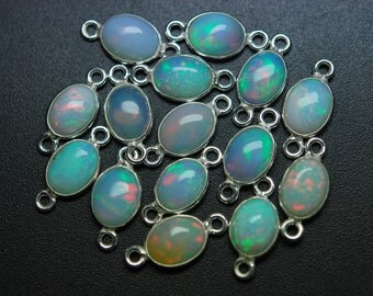 925 Sterling Silver, Ethiopian Opal Oval Pendant Connector,2 Piece of 12mm