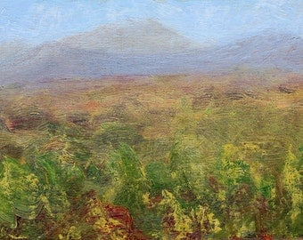 Colorful original small oil painting landscape plein air tonal