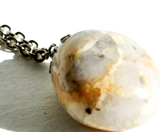Vintage Tumbled Rock Pendent with Silver Chain
