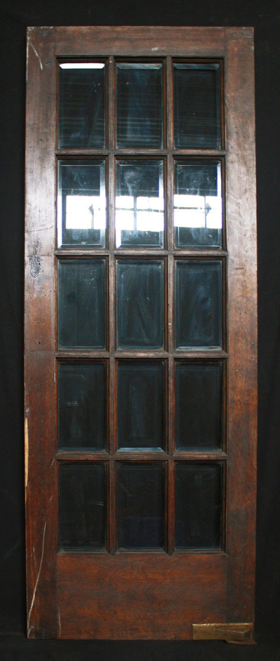 30 X 80 Antique Interior French Swinging Birch Door 15 Beveled Glass Lites From