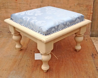 ottoman / coffee table / footstool..cream wooden basewith blue reupholstered top (contact us for delivery quote)