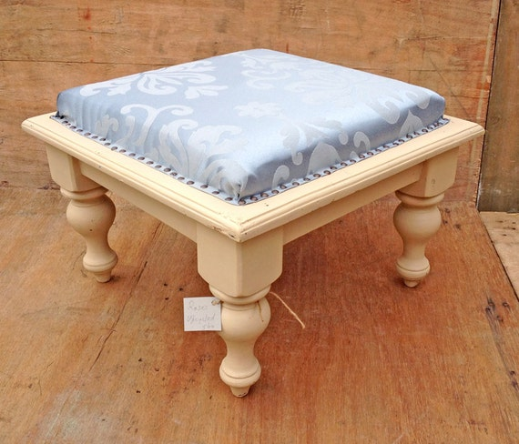 Ottoman Coffee Table Footstool Cream Wooden Basewith Blue
