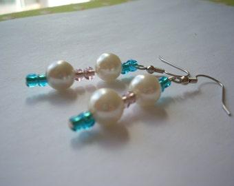 Blue & Purple Seed Bead and Pearl Earrings