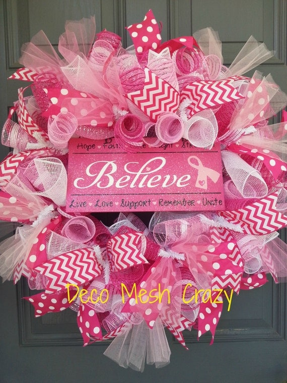 Breast Cancer Deco Mesh Wreath Believe Pink Deco Mesh Wreath