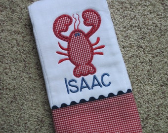 LOBSTER Personalized Baby Boy Burp Cloth
