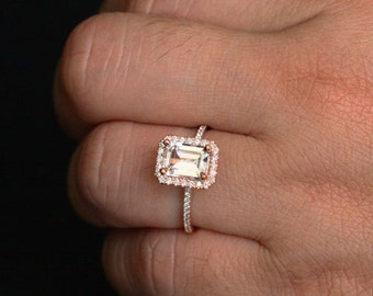 White Topaz Engagement Ring Diamond Halo Ring in 14k Rose Gold with White Topaz Emerald Cut 8x6mm