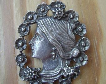 vintage sterling profile slide pendant