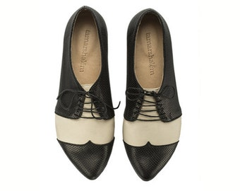 Black and white oxford shoes Polly Jean / B&W handmade flat leather shoes