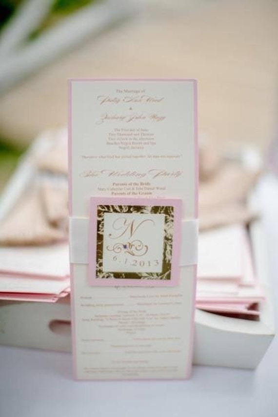Wedding ceremony program vintage Gold Blush Pink Ivory