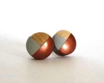 Gray and bronze wood post earrings, colorblock earrings, stud earrings, neutral earrings, paint dipped wood