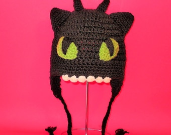 Crochet Pattern PDF Toothless Hat. Beanie and Earflap. (All Sizes Included: Newborn to Adult). Permission to sell finished items.
