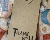Vintage Style Luggage tags PACK of 10 Thank you Stamp.