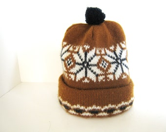 Vintage Brown Knitted Ski Hat - Skiing Hat - Winter Hat