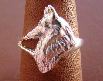 Sterling Silver Belgian Tervuren / Belgian Sheepdog Head Study Ring