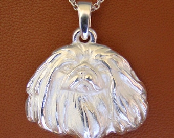 Large Sterling Silver Pekingese Head Pendant
