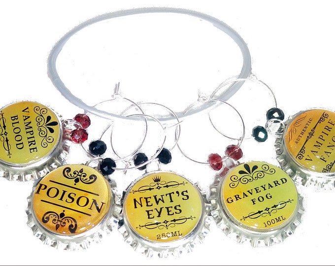 Halloween Wine Charms - Newts Eyes - 5/Set