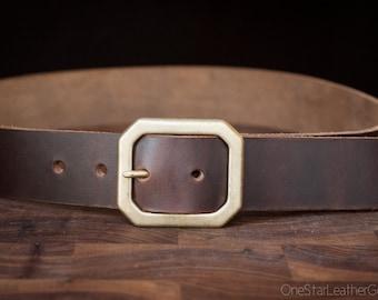 "Custom sized belt - Horween Chromexcel leather - 1.25"" center bar buckle - brown"