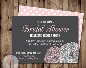 Wedding Shower Invitation, Bridal Shower Invitation, Wedding Shower,Peonies, Flowers, invite, Invitation