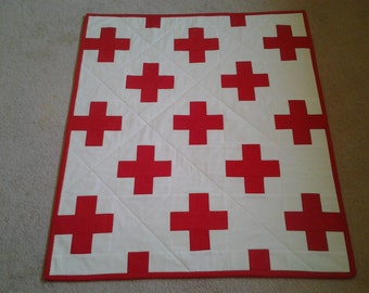 Red Plus Sign Blanket Quilt Handmade in Canada
