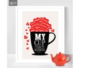 Personalized Tea cup Print - My Cup Overflows with Blessing- Cup Print in a Frame Wall Art - Scripture Art Bible verse Psalm 23:5