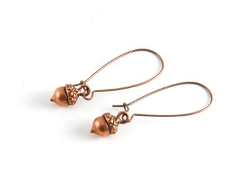 Little Tiny Acorn Earrings, Copper Acorn Earrings, Woodland Jewelry